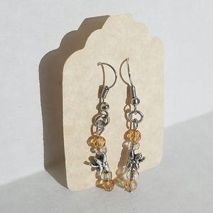 Handmade earrings w dragonfly bead J8